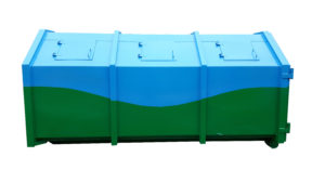 Zakryty kontener KP 10 z 6 uchylnymi klapami wrzutowymi