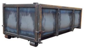Odkryty kontener na gruz KP 7 z klapą i rolkami