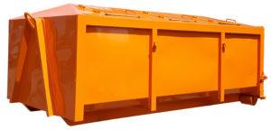 Zakryty kontener KP 7 z uchylnymi klapami wrzutowymi i rolkami