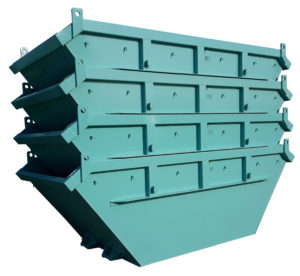 Symetryczny kontener mulda M8 do transportu bramowego