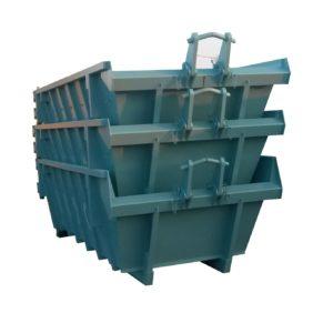 Odkryty kontener hakowy KP 12 DH układany w stos